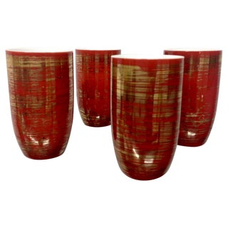 Porcelain Crimson & Gold Japanese Saki Cups - S/4