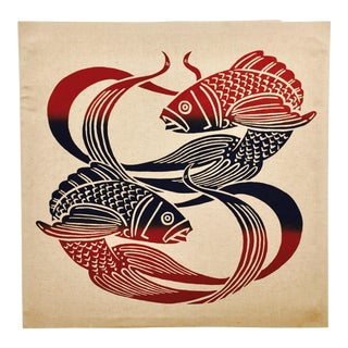 Vintage Pisces Silk Screen on Linen