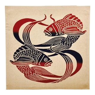 Vintage Pisces Silk Screen on Linen