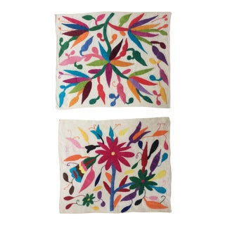 Otomi Embroidered Textiles - A Pair
