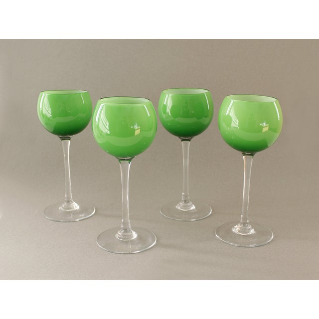 Carlo Moretti Green Wine Goblets - Set of 4 - Image 3 of 5