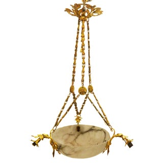 1920s French Alabaster Chandelier