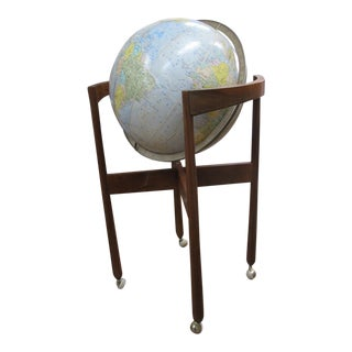 Jens Risom Sculptural Walnut Globe on Casters