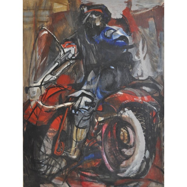 Image of Vintage Motorcyclist Painting C.1950's