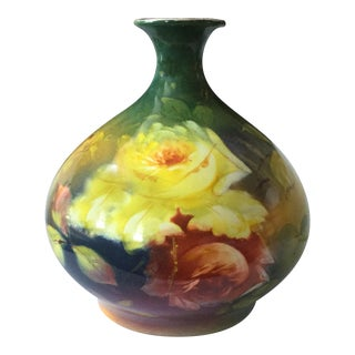 Mid-Century Yellow Roses Floral Vase