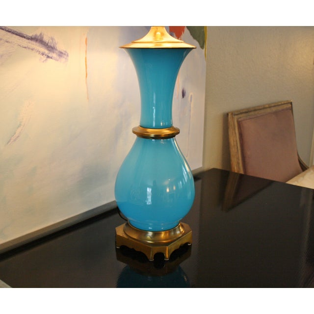 Vintage Murano Opaline Blue Lamp - Image 5 of 11