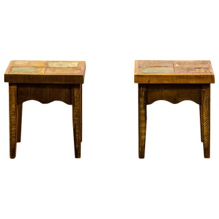 Reclaimed Solid Wood Stools - A Pair