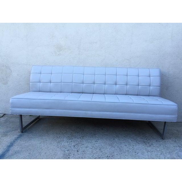 Modern Vinyl Chrome Legs Sofa - Image 7 of 10
