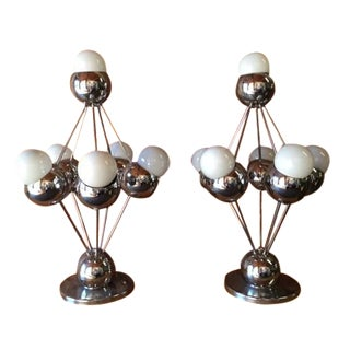 Mid-Century Chrome Space Age Orb Lamps - Pair