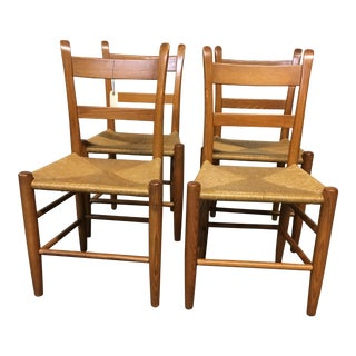 Vintage Dining Chairs With Rush Seats - Set of 4