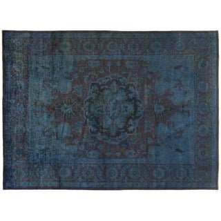 Silky Wool Overdyed Rug in Blue - 9' x 12'