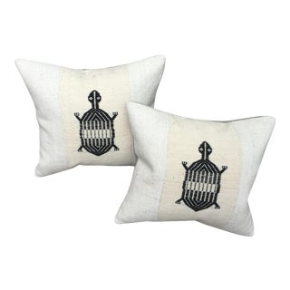 African Mud Cloth Turtle Pillows - A Pair