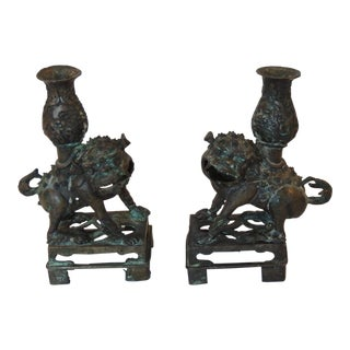 Antique Bronze Foo Dogs Candle Holders - Pair
