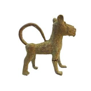 Nigeria African Benin Leopard Bronze Sculpture