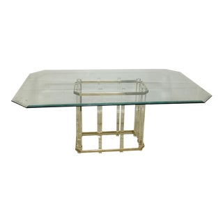 Lucite & Brass Dining Table