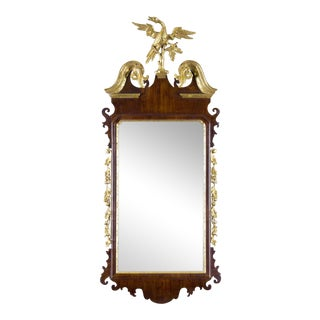 Chippendale Mahogany Parcel Gilt Mirror with Phoenix Finial