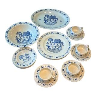 Metlox Poppytrail Homestead Provincial Blue Mid-Century China - Set of 18
