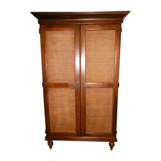 Wooden Armoire With Cane Panels