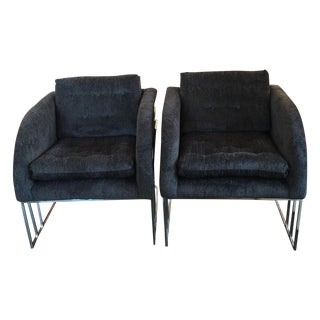 Milo Baughman Chrome Reupholstered Club Chairs - 2