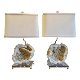 Organic Modern Geode Lamps - a Pair