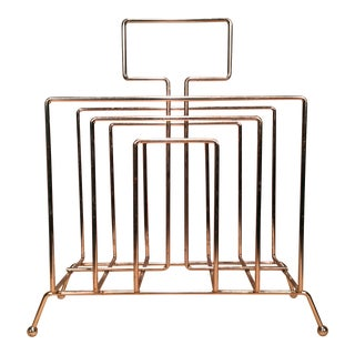 Mid-Century Chrome Geometric Magazine Rack