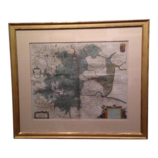Antique English Parchment Map in Frame