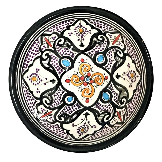 Moroccan Hand-Painted Small Multicolor Bowl - Image 1 of 2