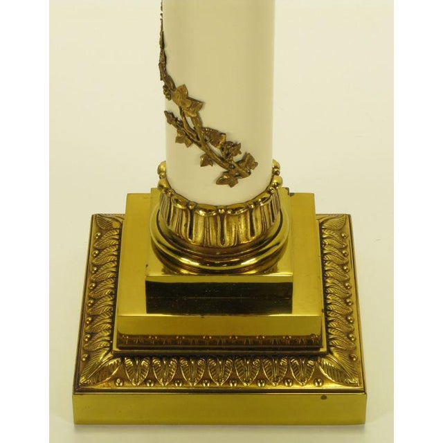 Pair Stiffel Neoclassical Brass & Ivory lacquered Table Lamps. - Image 6 of 10