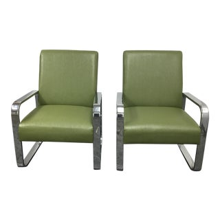 Coaster Chrome and Olive Green Armchairs - A Pair