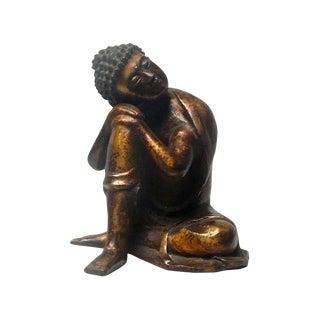 Handmade Metal Rustic Golden Gilt Sitting Sakyamuni Buddha Statue Chinese