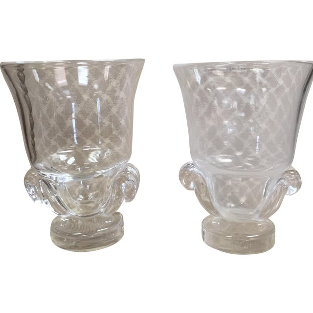 Image of Steuben Glass Urns - A Pair