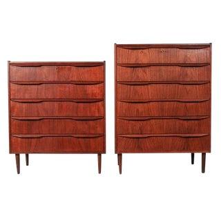 Danish Sculpted Handle Teak Tall Dressers - A Pair