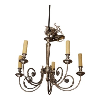 French Silvered Metal Chandelier, early 20th century