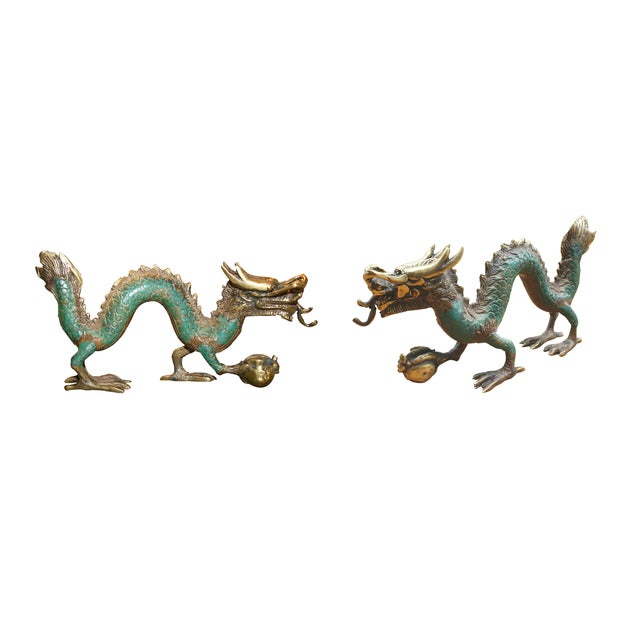 Image of Antique Style Brass Dragon - a Pair