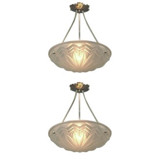 French Lighting Bowl, All-geometrics by Degué, Pair Available