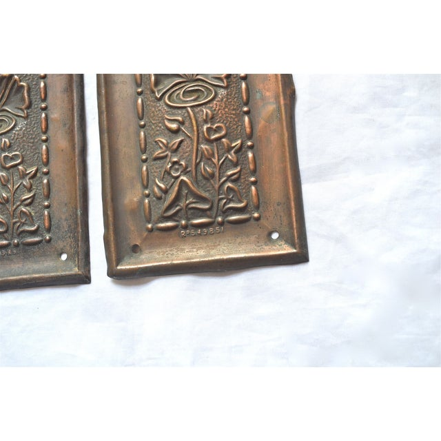 1910 Art Nouveau Copper Lotus Door Push Plates - Image 4 of 9