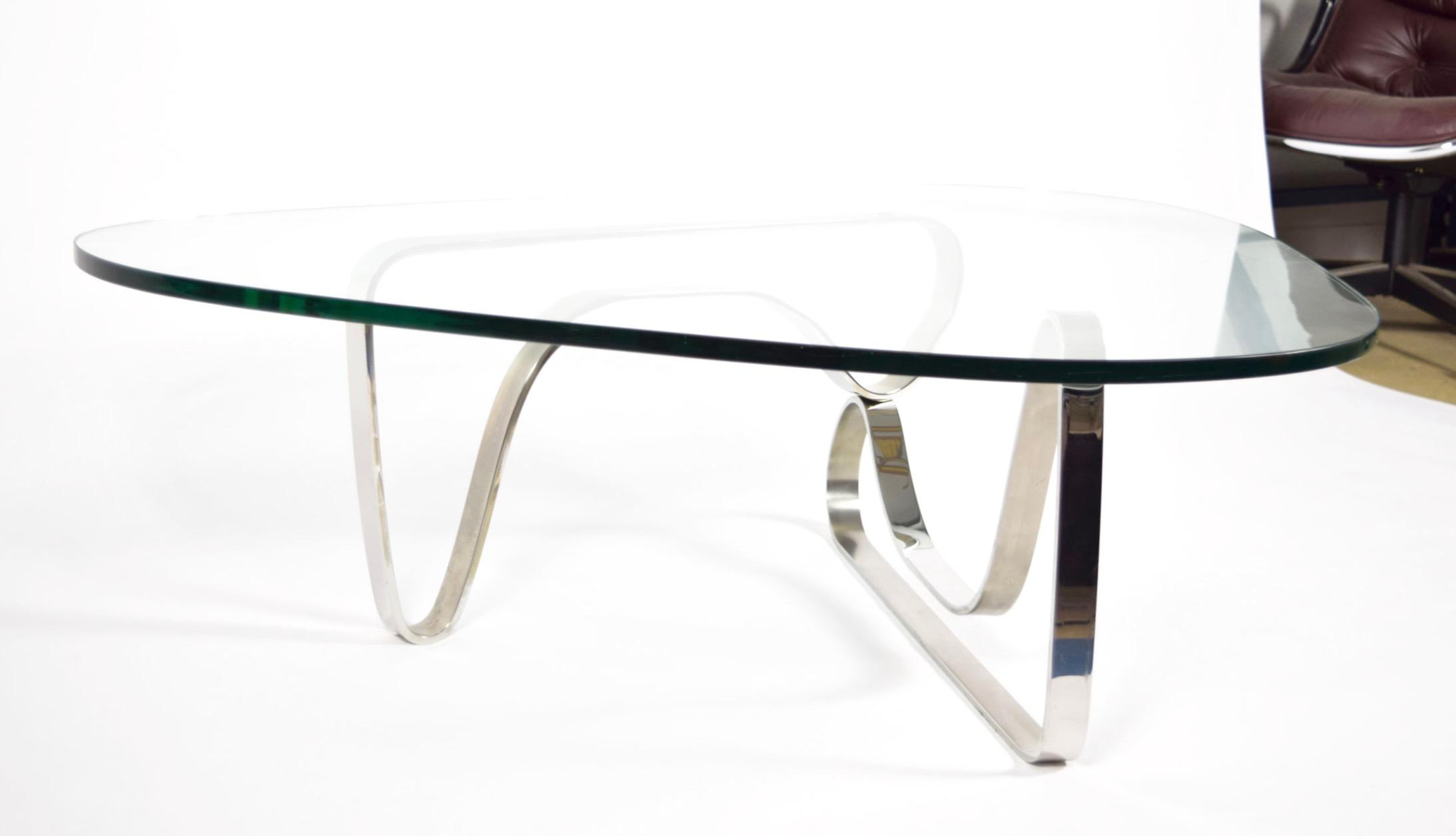 Noguchi Style Coffee Table With Stainless Steel Base   Image 6 Of 7