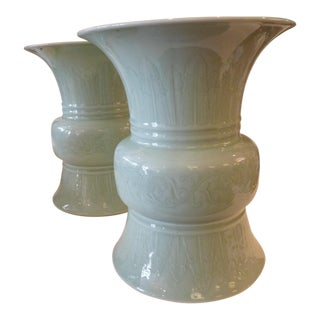 Celadon Green Ceramic Glazed Urns - A Pair