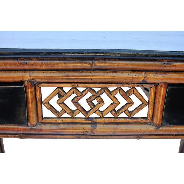 Vintage Bamboo and Wood Desk - Image 3 of 3