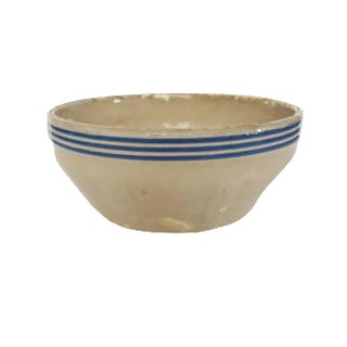 Antique Cream and Blue Striped Stoneware Bowl Pot