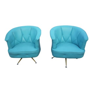 Mid-Century Modern Blue Swivel Barrel Chairs - A Pair