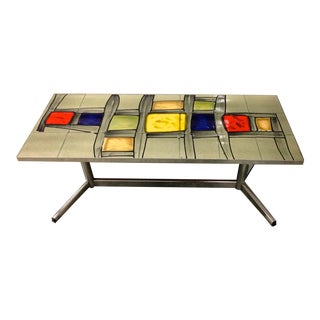 Abstract Painted Tile Coffee Table