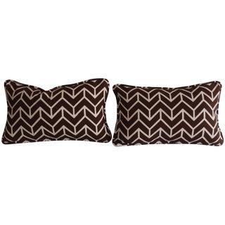 Schumacher Chevron Brown & White Pillows - A Pair