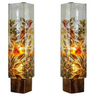 Pair of Large 1960s Glass Floor Lamps with Flower Motif