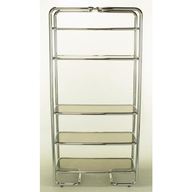Tubular Chrome & Smoked Glass Five Shelf Etagere. - Image 2 of 10