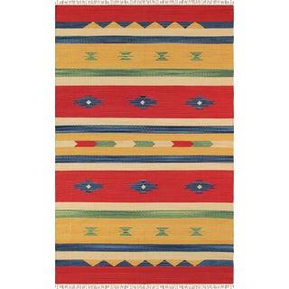 Anatolian Hand-Woven Cotton Rug - 4' X 6'