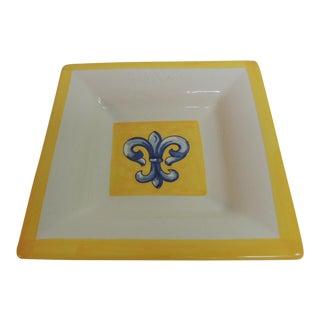 Hand Painted Square Dish with Fleur-de-Lis Motif