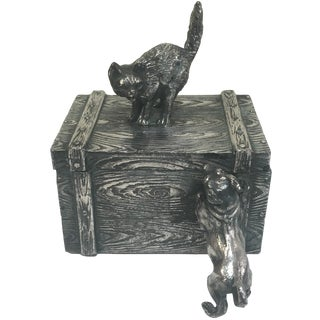 Victorian Cat & Dog Silver-Plate Box
