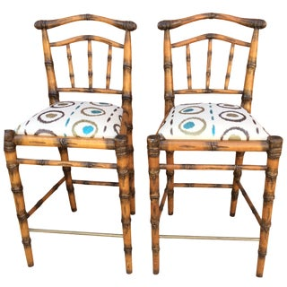 Walters Wicker Carlyle Bamboo Bar Stools - a Pair