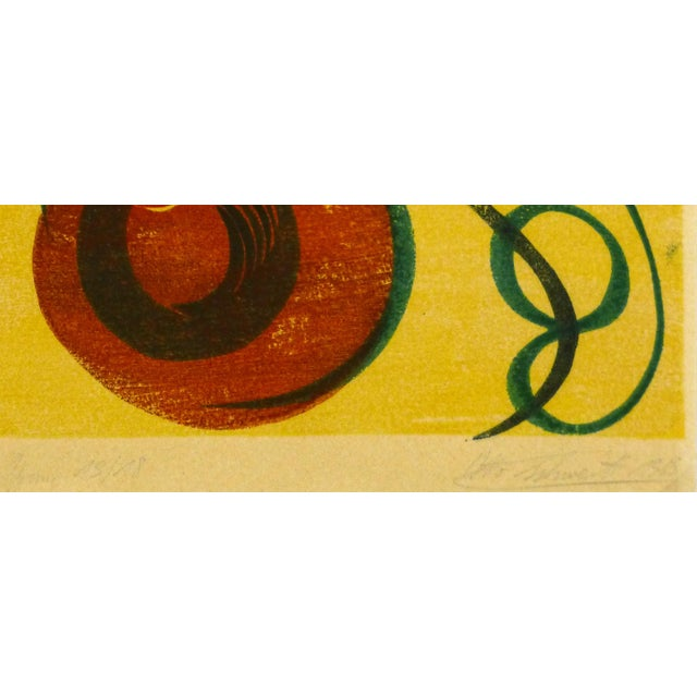 Mid-Century Modern Abstract Woodblock Print, 1969 - Image 2 of 3